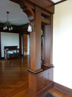Transition between rooms. 1905 Henry Hahn House - traditional - spaces - portland - Craftsman Design and Renovation Craftsman Style Interiors, Craftsman Decor, Bungalow Interiors, Craftsman Interior, Craftsman Style Homes, Craftsman Bungalows, Craftsman Houses, Arts And Crafts Interiors, Arts And Crafts House