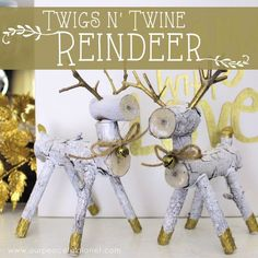 twigs twine reindeeer, christmas decorations, crafts, gardening