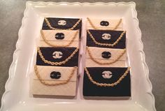 Step by step tutorial on how to make Chanel bag cookies with fondant.