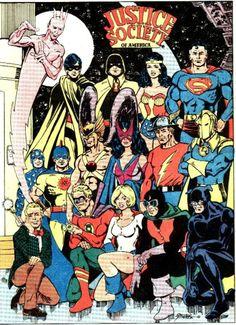 Justice Society of America (Team) - Comic Vine, George Perez Dc Comics Superheroes, Dc Comics Characters, Marvel Dc Comics, Comic Book Covers, Comic Books Art, Comic Art, Justice Society Of America, Hq Marvel, George Perez
