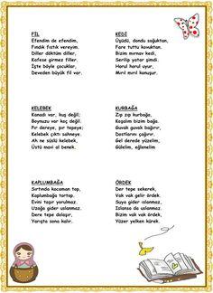 Siir Zip Zip, Turkish Language, Nursery Rhymes, Pre School, Grade 1, Preschool Activities, Kids Learning, Classroom, How To Plan