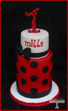 Ladybug first birthday cake www.facebook.com/i.love.cuteology.cakes