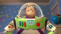 """Buzz Lightyear's facial features are loosely based on those of the film's director,John Lasseter; most notably his eyebrows, cheekbones and the dimple in his chin. Lasseter demonstrated this by sketching a rough self-portrait of himself on the U.K. breakfast show""""The Big Breakfast""""(1992) and then adding the spacesuit helmet to transform himself into Buzz."""