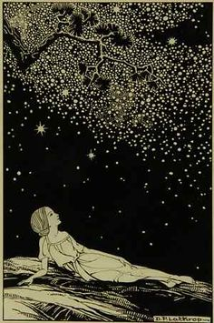 "Nuit étoilée. ""Starry Night"". By Dorothy P. Lathrop from Sara Teasdale's poem collection ""Stars To-Night"""
