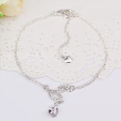 """Anklet 10Inch 10"""" Anklets Factory Price 925 Silver Anklets Fashion Jewelry Solid Silver Anklet CA011 US $3.98"""