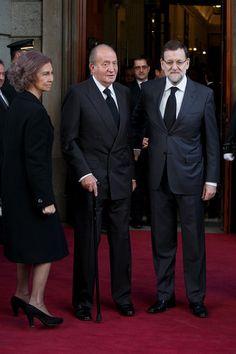 Reina Sofia, Rey Juan Carlos y presidente del Gobierno, Mariano Rajoy, llegan a el funeral por Adolfo Suarez, en el parlamento Espanol