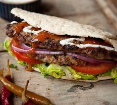 Dieter's doner kebabs. They said it couldn't be done but here it is – our version of everyone's favourite post-pub food. These kebabs taste just like the real thing, but have fewer than half the calories! Make sure you fill your pitta with lots of salady bits for extra colour and crunch and don't forget the chilli soss!