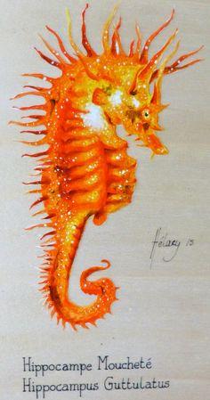 Hippocampe moucheté Acrylique sur bois