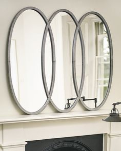 An elegant silver overmantle wall mirror with three interlocking oval frames. A large statement mirror for hallways, living rooms, bedrooms and bathrooms. Industrial Mirrors, Industrial Style, Oval Mirror, Oval Frame, Hallway Mirror, Decorative Mirrors, Silver Frames, Family Room, Metal
