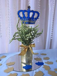 Royal Crown/ Royal blue and gold crown/ Prince Crown centerpieces stick