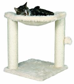 Cat Tree Scratching Post Pet Bed House Lounger with Hanging Toy Plush Fabric NEW #TRIXIEPetProducts