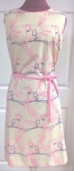 The Vested Gentress Dress Sz 12 Vintage 70s Pink & Purple Horse Pony Novelty EUC #TheVestedGentress