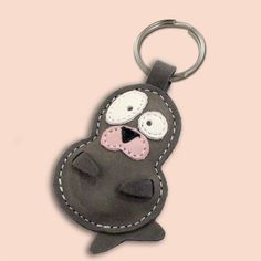 Snowy The Cute Little Seal Pup Leather Animal Keychain by snis, $13.95