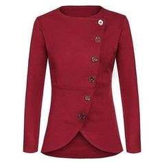Button Closure Asymmetric Hem Long Sleeve Red Blazer