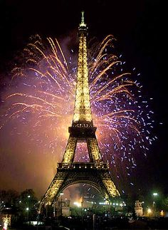 Eiffel Tower - fireworks - (visited in 1999, countdown clock to the Millennium was hanging on it, really cool)