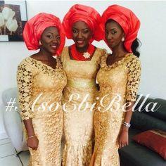 Aso Ebi - AsoEbi - AsoEbiBella - @gaudeeya (3) - image034 gold and coral gele Nigerian bride wedding