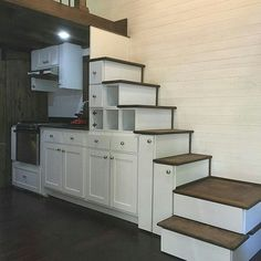 This tiny house staircase is beautiful but I'd also want drawers and for the bottom step to be retractable for no tripping