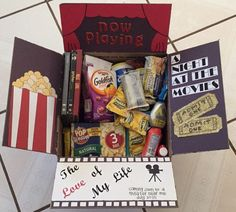 Movie Night care package for my marine. - Natalie Stiegelbauer - Movie Night care package for my marine. Movie Night care package for my marine. Diy Crafts For Boyfriend, Homemade Gifts For Boyfriend, Christmas Gifts For Boyfriend, Valentine Day Gifts, Redbox Gift Card, Kino Box, Sister Birthday Presents, Exploding Gift Box, Movie Night Gift Basket