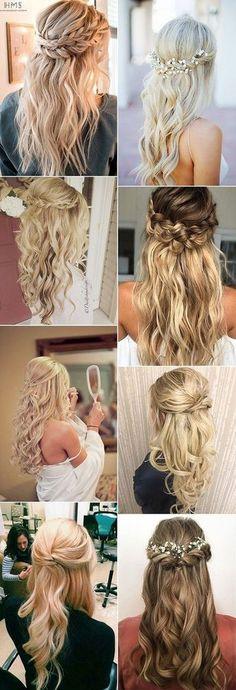 chic half up half down wedding hairstyle ideas