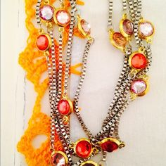 """necklace NWOT HP Host Pick - Stunning 18"""" necklace with five strands of rhodium plated chains.  Cubic zirconia stones add just the right amount of sparkle and color. Jewelry Necklaces"""