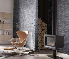 Briquettes de parement deco salon pinterest salons mini loft and stone - Salon gris anthracite ...