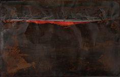 """""""Ferro SP (Iron SP)"""" by Alberto Burri, 1961. """"Alberto Burri: The Trauma of Painting"""" on view at the Guggenheim."""