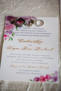 Invitation with wedding ring - Purple and pink florals for wedding at Oakland Hills Country Club in Bloomfield Hills, Michigan - Leah E. Moss Designs Foil Stamped Wedding Invitations, Letterpress Invitations, Watercolor Invitations, Elegant Invitations, Custom Invitations, Wedding Stationery, Purple Wedding, Floral Wedding, Wedding Ring
