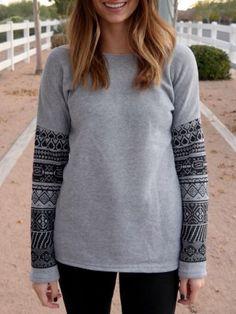 Casual Scoop Neck Geometric Print Spliced Thick Sweatshirt For Women Sweatshirts & Hoodies | RoseGal.com Mobile