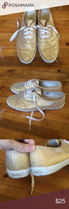 Gold Sparkly Sneakers Great condition, basically like new. Express Brand but looks exactly like Keds. Limited Edition. Size 7 1/2 Women. Express Shoes Sneakers