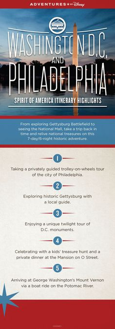 Discover the history of America on the 7-day/6-night Adventures by Disney Washington D.C. and Philadelphia itinerary! From exploring Gettysburg Battlefield to seeing the National Mall – take a trip back in time and relive national treasures on this historic adventure.