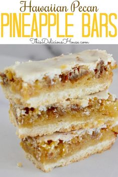 Pineapple Bars Pineapple Bars are the BEST recipe with a shortbread base, pineapple filling, and easy pineapple icing on top. Don't miss this delicious recipe for Hawaiian pineapple squares full of tropical flavor. Pineapple Desserts, Köstliche Desserts, Pineapple Recipes Easy, Candied Pineapple Recipe, Pineapple Filling For Cake, Pineapple Pudding, Pineapple Bread, Pineapple Cookies, Tropical Desserts