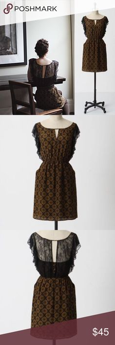 Anthropologie Maple Recollections Dress ✔Rare! ✔100% Silk ✔Side Pockets ✔Beautiful Lace Detailing ✔Beautiful Condition Anthropologie Dresses