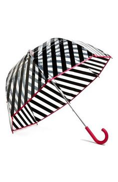 For a brighter rainy day. Kate Spade new york stripe umbrella Bubble Umbrella, Under My Umbrella, White Umbrella, Kate Spade Umbrella, Brollies, Umbrellas Parasols, Singing In The Rain, Bold Stripes, Girly Things