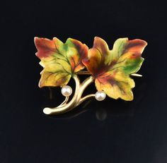 Art Nouveau 14K Gold Enamel Natural Pearl Brooch Pin #namel #Gold #Pearl #Brooch #Nouveau #Art #14K #Natural #Enamel #Forget