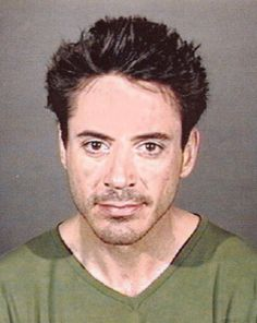 A mug shot of actor Robert Downey, Jr. is taken on April 24, 2001 in Culver City, Calif. The actor was arrested by officers of the Culver City Police Department for being under the influence of a controlled substance.
