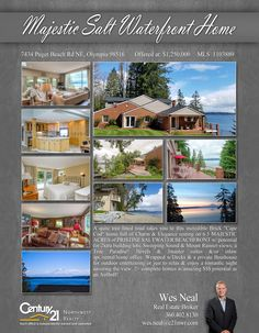 Check out this majestic waterfront home in Olympia! Get this house with its perfect scenic view! Contact Wes Neal for more info.  MLS# 1103889 http://7434pugetbeachrdne.c21.com/