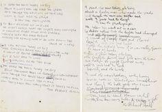 "John Lennon's handwritten lyrics for ""A Day in the Life.""  www.artexperiencenyc.com"