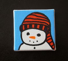 Snowman Tiny Magnet #12 Drawn Art by CottonwoodCove on Etsy