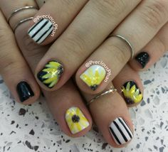Spring,  sunflower nails