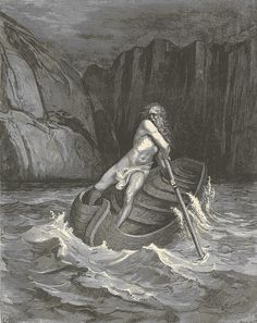 According to ancient Greek mythology, Charon ferries souls through Acheron to Hell. This image is an original 1880 engraving from The Divine Comedy by Gustave Dore.
