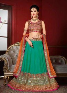 Green Bhagalpuri Khadi Silk Best Online Lehenga Shop ,Indian Dresses - 1