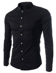 """SiikWorld Men's Slim Fit Stand Collar Shirt US X-Small Chest:33.5-35.0"""""""