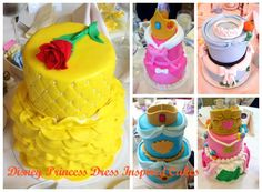 Cake Center Pieces Inspired By Disney Princess Dresses for Wedding Shower. Belle, Cinderella, Jasmine, Ariel, and Sleeping Beauty cakes.