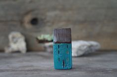 miniature rustic house  hand sculpted clay home  by Mymindsattic