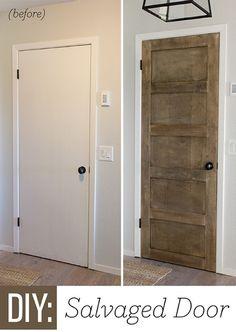 Foyer Update: DIY Salvaged Door using cab grade plywood to enhance hollow core doors! Home Renovation, Home Remodeling, Bathroom Remodeling, Bathroom Ideas, 5 Panel Doors, Hollow Core Doors, Sweet Home, Ideas Hogar, My New Room