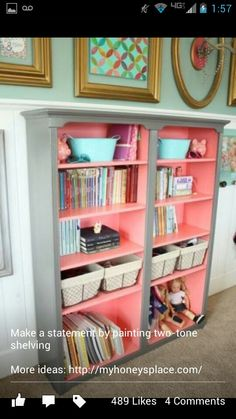Beautiful bookcase that would work perfect in a teen girls room