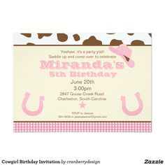 "Cowgirl Birthday Invitation 5"" X 7"" Invitation Card"