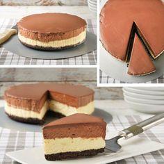 Cheesecake et mousse au chocolat
