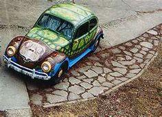 1966 vw beetle, original paint job, art car