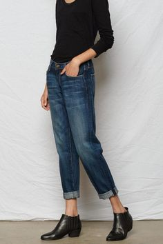 A slimmer style of Current/Elliott's classic boyfriend jean you can wear this cropped jean relaxed low on hips and rolled at the ankle.   Fling Loved Jean by Current/Elliott. Clothing - Bottoms - Jeans & Denim - Boyfriend Clothing - Bottoms - Jeans & Denim - Ankle Back Bay Boston Massachusetts